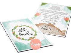 Vízfesték hatású virágos, vintage esküvői meghívó | Vintage wedding invitation with watercolor floral