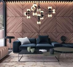 I was inspired by Minotti furniture in a recent work, so I built home office interior concept just to have fun and practice! Accent Walls In Living Room, Living Room Modern, Living Room Designs, Living Room Decor, Small Living, Living Rooms, Living Area, Living Spaces, Wood Panel Walls