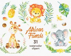 This African animals clipart set is just what you needed for the perfect invitations, craft projects, paper products, party decorations, printable, greetings cards, posters, stationery, scrapbooking, stickers, t-shirts, baby clothes, web designs and much more. :::::: DETAILS ::::::