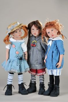 Zwergnase Dolls and Bears by Nicole Marschollek..Left Celia 45 cm lim 50  Middle Sanna 45 cm lim 50  Right Elin 45 cm lim 50