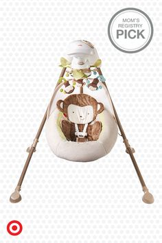 Rock and soothe your baby with the Fisher-Price My Little SnugaMonkey Cradle 'n Swing, available only at Target. Choose front-to-back or side-to-side motion, and six swinging speeds. The cute, cuddly seat includes a blankie monkey toy for snuggle time.