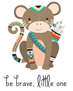 Are you decorating a tribal nursery, wildlife nursery, woodland nursery or animal nursery? This tribal nursery print will be a perfect (and adorable) addition!