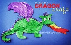 Printable Dragon painting, and links to several other fantasy crafts including mermaids, unicorns, griffins, etc.