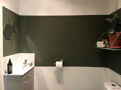 aménagement décoration wc buanderie green bandeau peinture vert foncé