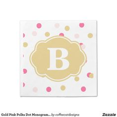 Gold Pink Polka Dot Monogram Napkins on Zazzle @zazzle #paper #napkins #events #catering #cocktail #party #bar #cooking #entertaining #chic #products #zazzle #monogram #products #buy #shop #sale #shopping #customizable #personalize #name