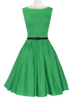 Vintage Style Slash Neck Solid Color With Belt Sleeveless Dress For Women Vintage Dresses   RoseGal.com Mobile