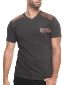 Love this Faux Leather Knit S/S Pocket V-neck tee on DrJays and only for $20.99. Take a look and get 20% off your next order!