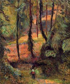 by Paul Gauguin in oil on canvas, done in . Find a fine art print of this Paul Gauguin painting. Paul Gauguin, Henri Matisse, Gustav Klimt, Landscape Art, Landscape Paintings, Wood Path, Richard Diebenkorn, Impressionist Artists, Art Moderne