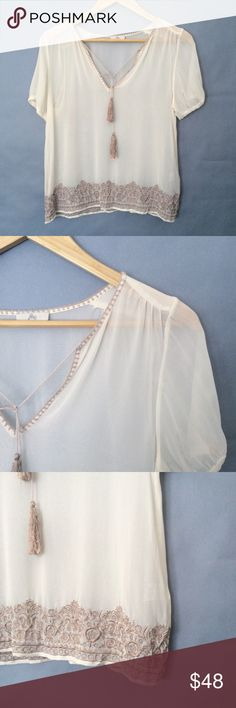 "Joie 100% silk sheer blouse/ shirt/ top Joie 100% silk sheer blouse. Like new condition. Size tag missing but looks like M. Flat measurements: underarms:18"", length:22"". Joie Tops Blouses"