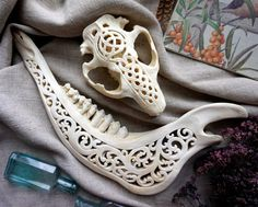 Your place to buy and sell all things handmade Deer Skull Art, Cow Skull Decor, Deer Skulls, Gem Fest, Painted Animal Skulls, Bone Crafts, Antler Art, Bone Jewelry, Skull Painting