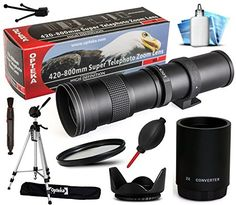 Opteka 420-1600mm f/8.3 HD Telephoto Zoom Lens Bundle Package includes 2X Teleconverter   70' Tripod Photo/Video Tripod   UV Ultra Violet Filter   Tulip Hood   Air Dust Blower   Cap Keeper   Lens Pen   Cleaning Kit for Nikon DF, D2X, D2Xs, D3, D3s, D3x, D4, D4s, D40, D40x, D60, D80, D90, D300, D700, D300s, D600, D610, D750, D800, D800e, D810, D3000, D3100, D3200, D3300, D5000, D5100, D5200, D5300, D7000, D7100 DSLR SLR Digital Camera >>> Want additional info? Click on the image. (This is an…
