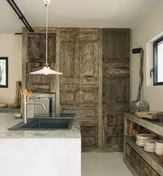 concrete surfaces and reclaimed wood