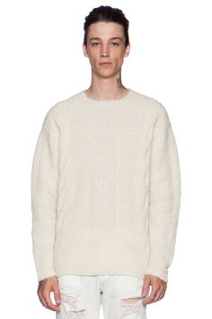 Stampd Cable Knit Alpaca Sweater in Cream