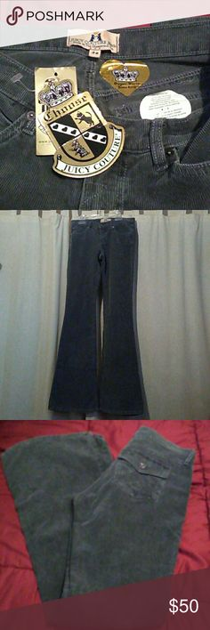 """NWT/Juicy Jeans Size 26 / Darling gray corduroy jeans. Called black jack vintage . Inseam 33"""" Inventory # 0101 Juicy Couture Jeans Flare & Wide Leg"""