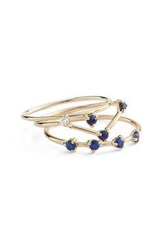 Women's WWAKE Sapphire & Diamond Rings (Set of 3) (Nordstrom Exclusive)