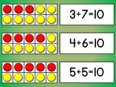 TEN FRAME MATCH-UP I like that they match the ten frame with the math fact - great for introducing math facts to ten. I'd love to try this with five frames first. Math For First Graders, 1st Grade Math, Grade 1, Kindergarten Activities, Teaching Math, Number Activities, Preschool, Math Stations, Math Centers