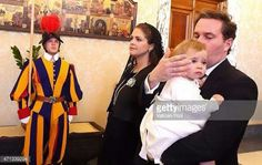 Princess Madeleine, Christopher O'Neil, and Princess Leonore of Sweden visits Pope Francis at the Vatican