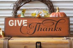 Fall Wood Sign, Fall Decor, Give Thanks Wooden Sign, Thanksgiving Sign, Autumn…