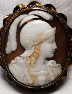 Athena with plumed helmet and wearing the aegis, or the breastplate bearing at its center the head of the winged Gorgon, Shell Cameo, Victorian