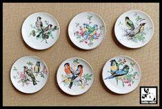 Set of SIX Bird Plates 6 Bird Plates Hanging Bird Plate Set   Etsy Small Desserts, White Doves, Vintage Birds, Nursery Wall Decor, Drink Coasters, Plate Sets, Bird Art, Blue Bird, I Shop