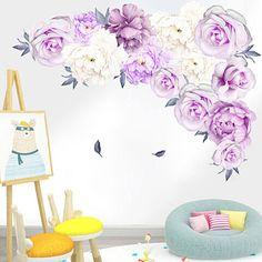 OpenSky Nursery Decals, Baby Room Wall Decals, Nursery Room Decor, Flower Wall Stickers, Vinyl Wall Stickers, Baby Boys, Background Diy, Purple Peonies, Rose Wall