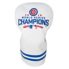 Buy the Chicago Cubs golf head cover cheap. This Chicago Cubs World Series Champs vintage golf club cover will protect your driver or is a great fairway wood cover with the World Series champions logo displayed!
