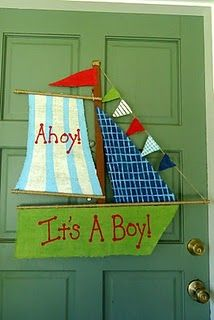 Painted Burlap ship door hanger