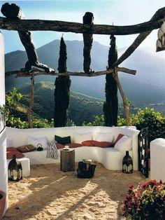 The Olive Grove an Andalusian farmhouse in Malaga, Spain. View of peak La Moroma