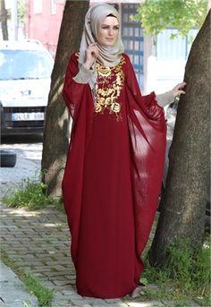 Karis Yarasa Kol Şifon Elbise-Bordo-1712 Casual Summer Dresses, Trendy Dresses, Nice Dresses, Short Dresses, Casual Outfits, Coat Dress, The Dress, Modest Fashion, Hijab Fashion