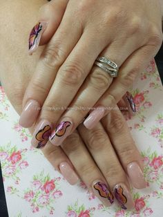 Cover diamond gel with butterfly freehand nail art
