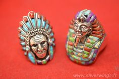 Native American Head. 925 Silver, Turquoise, Coral And Opals. View Full Size Pics At http://www.silverwings.fr/native-indian-american-ring-w...