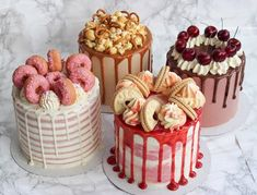 Jammy Dodger, Strawberry Doughnut, Salted Caramel or Black Forest Gateaux? Candy Birthday Cakes, Pretty Birthday Cakes, Pretty Cakes, Cake Decorating Frosting, Birthday Cake Decorating, Cake Decorating Tips, Mini Cakes, Cupcake Cakes, Cupcakes