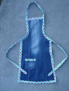 Made from a jeans leg. Self made trim. Simple and adorable.