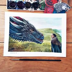 Jon snow and drogon watercolour instagram Awesome artwork  By @creative.girl_art   GOT GAME OF THRONES DEANERYS JON SNOW  WATERCOLOUR dragon jon snow game of thrones got