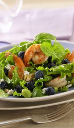 Recette Salade de crevettes aux bleuets avec vinaigrette au citron - Recettes du Québec