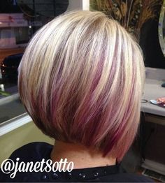 blonde bob with purple peek-a-boo highlights