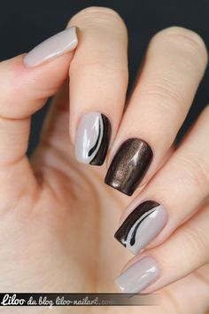 nails nails, grey nail art et brown nail art Brown Nail Art, Grey Nail Art, Gray Nails, Glitter Nail Art, Brown Nails, Black Nail, Pink Nails, Pink Toes, Burgundy Nails