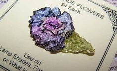 FRENCH RIBBONWORK Revival RIBBON ROSE Applique-Violet/Blue w/Antique Green Leaf!