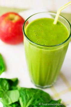Peach Smoothie: 1 cup coconut milk, 1 peach, chopped, 1 apple, cored and chopped, 1-1/2 cups tightly packed spinach.