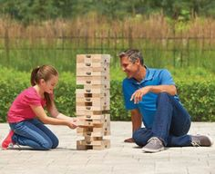 Big Towering Timber Blocks – The big timber blocks is big towering fun. Blocks forms a 4′ tower you must disassemble one at a time. Be careful you don't want be the bad apple to cause it to topple down. #bigblock #bigtimberblock #giantsizejenga