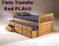 Captain's Bed PLANS - Simple Twin Size with Trundle Bed   www.projectplans2000.com/#