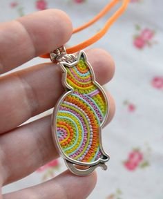 Open back cat frame pendant filled with needle-impressed clay strips. Colorful Cat Necklace, Polymer Clay Filigree Necklace, Multicolor Jewelry, Cute animal jewelry, Best gift for her, OOAK.