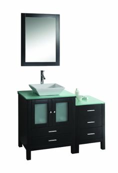 Virtu USA MS-4446-G-ES Brentford 46-Inch Single Sink Bathroom Vanity Set with Tempered Glass Countertop, Espresso Finish Single vanity with espresso finish, Includes side cabinet, mirror, brushed nickel hardware, tempered glass countertop, and white ceramic basin. Solid oak construction, Finished with quality 7-layer coating system. Two doors and five drawers featuring European sliders and soft-cl... #Virtu_USA #Home_Improvement
