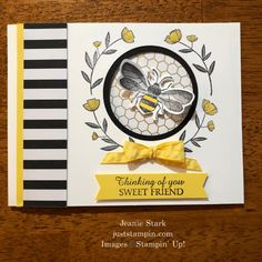 Stampin' Up! Honey Bee Thinking of You peek-a-boo card idea for a friend - Jeanie Stark StampinUp Card Making Inspiration, Making Ideas, Stampin Up Karten, Honey Bee Stamps, Bee Cards, Friendship Cards, Stamping Up Cards, Animal Cards, Copics