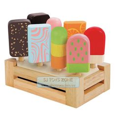 Kids Wooden Ice Cream Bar Set With Stand * 8 Bars Kitchen Toy Pretend &Play