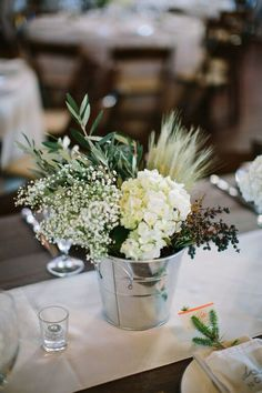 Winter wedding with mixed textures - Wheat, eucalyptus, privet berry, hydrangea, baby's breath - Whim Florals - February 2015 - Camp Lucy