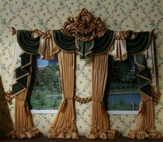 White Brown Curtains With Swag Valance | Living Room Curtains ...