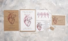 Vintage song lyric full invite suite table plans invitation anatomical heart wedding invitation full invite sample stopboris Image collections