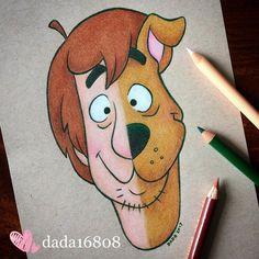 Shaggy vs. Scooby Doo (Drawing by Dada16808 @Instagram) #ScoobyDoo Disney Drawings Sketches, Cute Disney Drawings, Pencil Art Drawings, Cool Drawings, Drawing Sketches, Drawing Disney, Drawing Ideas, Drawing Poses, Drawing Art