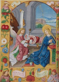 Book of Hours, German, early 16th century Ms. Ludwig IX 16, fol. 154v http://www.getty.edu/art/collection/objects/3840/unknown-maker-the-annunciation-german-early-16th-century/?dz=0.5000,0.7137,0.52